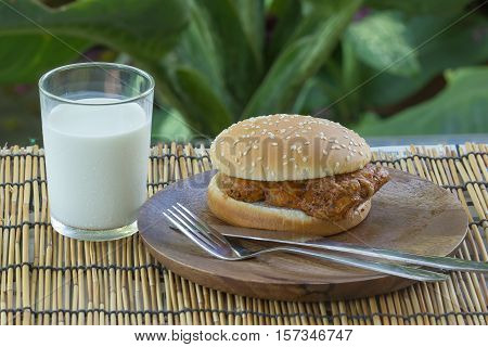 Spicy Chicken Burger with cup of Milk