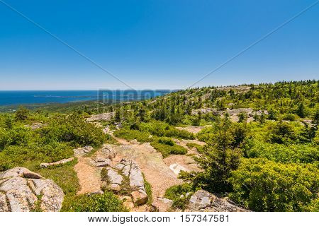 View from the Cadillac Mountain Trail in Acadia National Park Maine