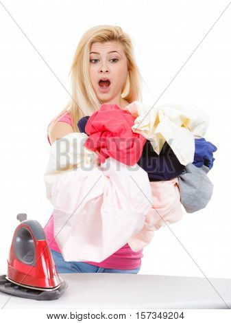 Woman Having Creased Clothes To Iron