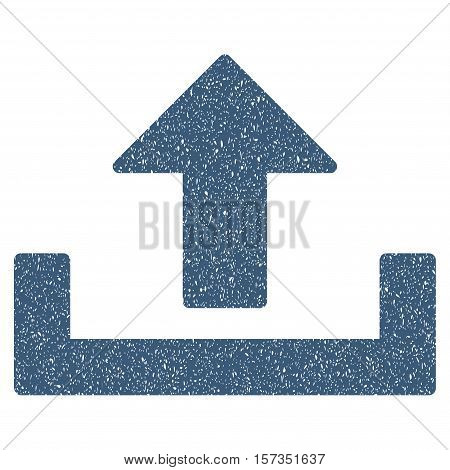 Upload grainy textured icon for overlay watermark stamps. Flat symbol with dust texture. Dotted vector blue ink rubber seal stamp with grunge design on a white background.