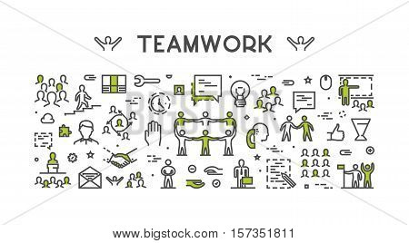 Vector line concept for teamwork. Modern linear creative style for working together. Open path.