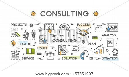 Line concept for consulting. Vector linear symbol for business consultation. Open path.