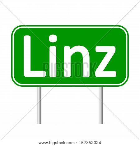 Linz road sign isolated on white background.