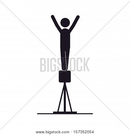 monochrome silhouette of gymnastics in pommel horse vector illustration