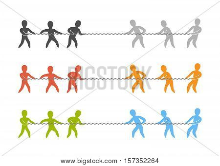 Vector tug of war logo and icon. Color figures people.