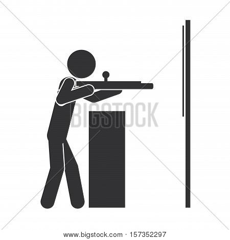 monochrome silhouette with man shooting to target vector illustration