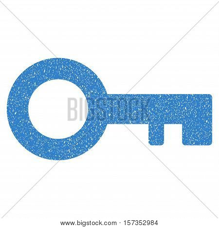 Key grainy textured icon for overlay watermark stamps. Flat symbol with dust texture. Dotted vector cobalt ink rubber seal stamp with grunge design on a white background.