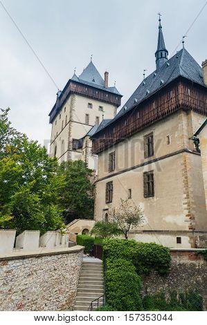 Castle In Karlstejn, Czech Republic. Detail Of Architecture.
