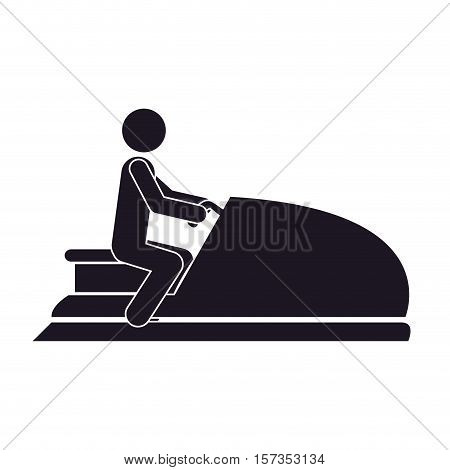 monochrome silhouette with man in jet ski vector illustration