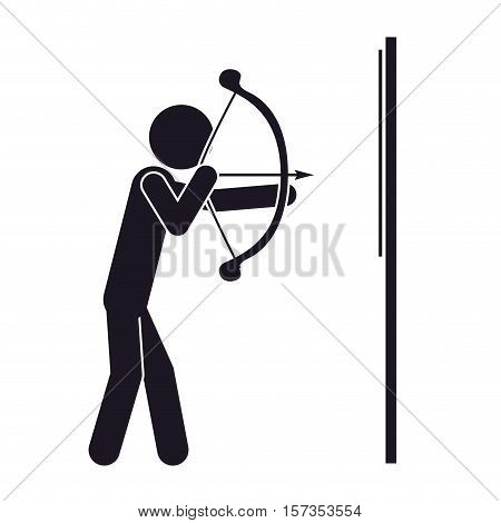 monochrome silhouette with man archery vector illustration