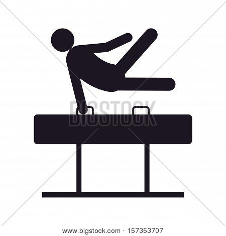 monochrome silhouette of gymnast in pommel horse in one hand vector illustration