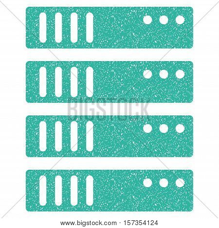 Server grainy textured icon for overlay watermark stamps. Flat symbol with scratched texture. Dotted vector cyan ink rubber seal stamp with grunge design on a white background.