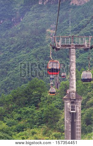 cable car with winding and curves road in  Tianmen mountain zhangjiajie national park, Hunan province, China