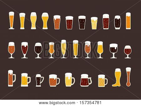 Set of beer with bubbles in glasses and mugs. Vector illustration
