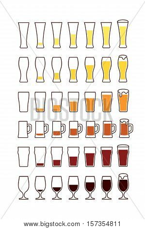 Glasses of beer: empty half full. Vector illustration