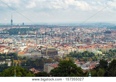 Red Roofs In The City Prague. Panoramic View Of Prague