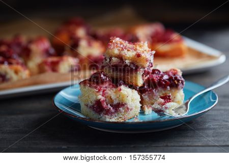 Slices of homemade cherry cake served in plate