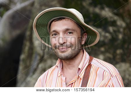 Science And Environmental Protection Concept. Handsome Ecologist With Small Beard Wearing Striped Sh