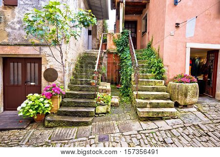 Old village of Groznjan street view Istria Croatia
