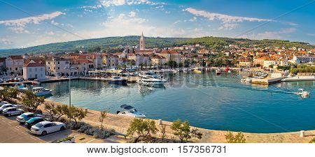 Supetar on Brac island panoramic view of harbor and old waterfront Dalmatia Croatia
