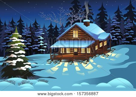 A vector illustration of Cabin in the Woods During Winter Season