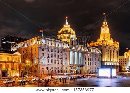Night View Of The Bund (waitan), Shanghai, China