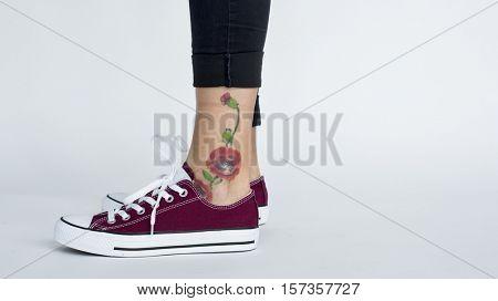 Foot Leg Tatto Art Concept