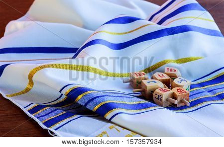 Jewish Holiday Hanukkah background with Tallit jewish religious symbol