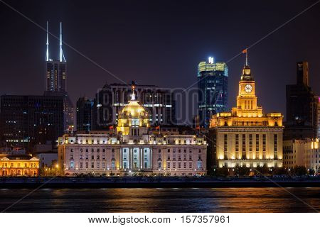Night View Of The Bund (waitan) From Pudong Side, Shanghai