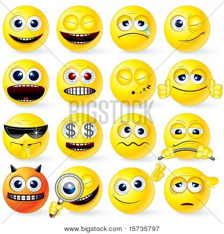Large set of Yellow Cartoon Smileys with various emotions and gestures - detailed isolated emoticons