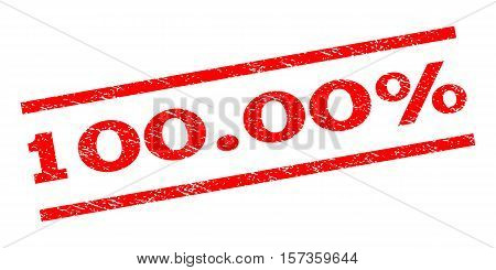 100.00 Percent watermark stamp. Text tag between parallel lines with grunge design style. Rubber seal stamp with unclean texture. Vector red color ink imprint on a white background.