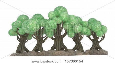 3D cartoony illustration of groups of trees on a white background