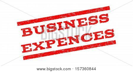 Business Expences watermark stamp. Text tag between parallel lines with grunge design style. Rubber seal stamp with dust texture. Vector red color ink imprint on a white background.