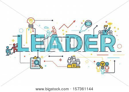 Leader Word In Business Leadership Concept