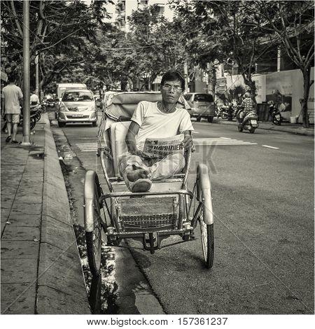 Vietnamese rickshaw. Nha-Trang, Vietnam,  May of 2016