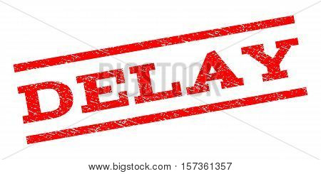 Delay watermark stamp. Text tag between parallel lines with grunge design style. Rubber seal stamp with unclean texture. Vector red color ink imprint on a white background.