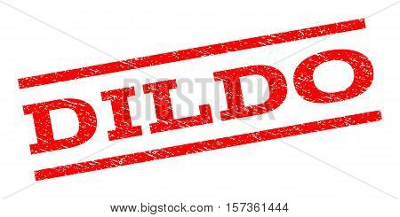 Dildo watermark stamp. Text tag between parallel lines with grunge design style. Rubber seal stamp with scratched texture. Vector red color ink imprint on a white background.