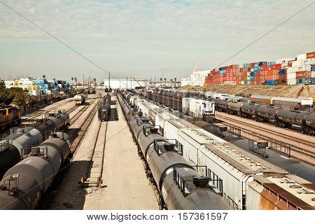 Industrial Train Yard In Wilmington, Ca