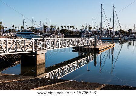 Boat launch ramp at Chula Vista Bayfront park with marina.