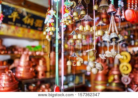 Traditional Oriental Chinese Wind Chimes At Souvenir Shop