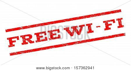 Free Wi-Fi watermark stamp. Text tag between parallel lines with grunge design style. Rubber seal stamp with unclean texture. Vector red color ink imprint on a white background.