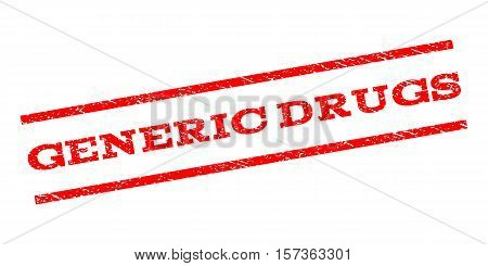 Generic Drugs watermark stamp. Text caption between parallel lines with grunge design style. Rubber seal stamp with scratched texture. Vector red color ink imprint on a white background.