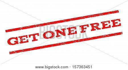 Get One Free watermark stamp. Text tag between parallel lines with grunge design style. Rubber seal stamp with scratched texture. Vector red color ink imprint on a white background.