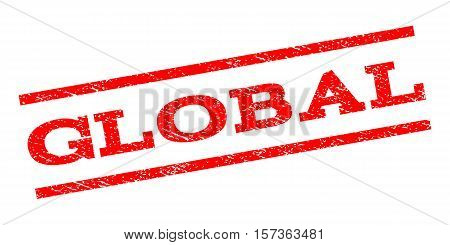Global watermark stamp. Text caption between parallel lines with grunge design style. Rubber seal stamp with unclean texture. Vector red color ink imprint on a white background.