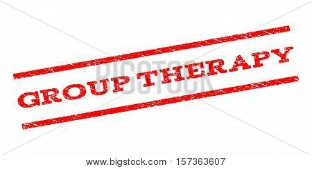 Group Therapy watermark stamp. Text tag between parallel lines with grunge design style. Rubber seal stamp with dust texture. Vector red color ink imprint on a white background.