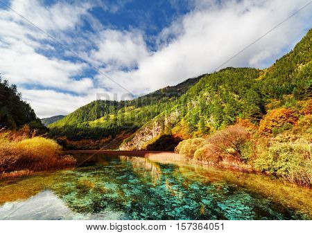 Amazing Azure Crystal Clear Water Of River And Mountains In Fall