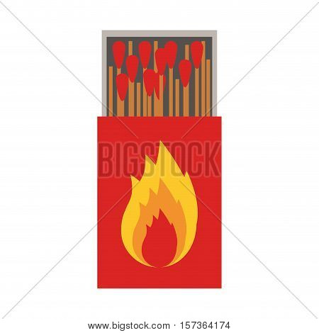 colorful silhouette of matchbox with logo flame vector illustration