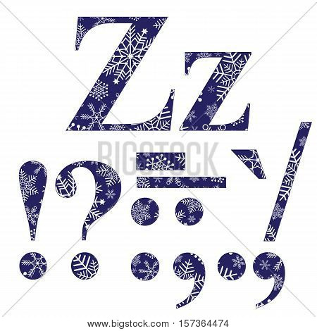 Uppercase and lowercase letters Z and signs of punctuation of the English alphabet with a winter pattern? vector