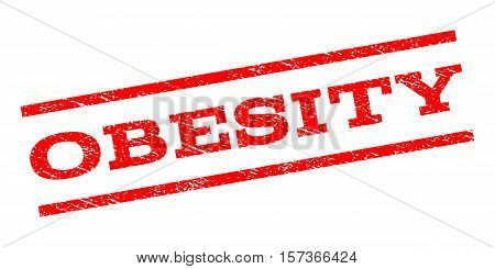 Obesity watermark stamp. Text tag between parallel lines with grunge design style. Rubber seal stamp with dirty texture. Vector red color ink imprint on a white background.
