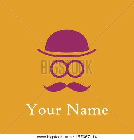 Vector abstract man with bowler hat and mustache